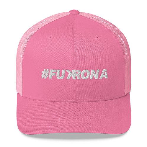 #FUKRONA - Trucker Hat - White on Candy Pink
