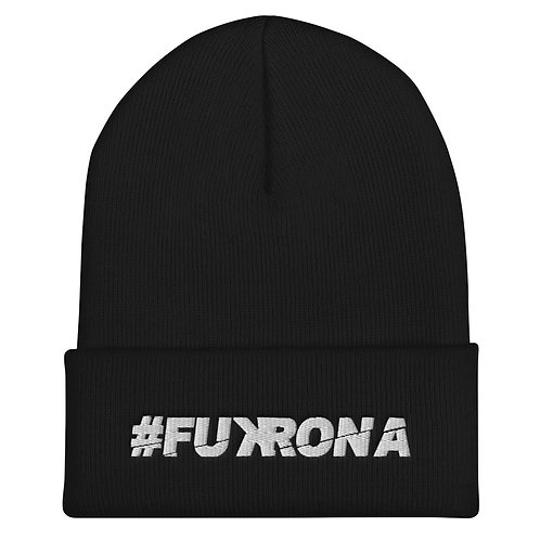#FUKRONA Cuffed Bean - White on Black