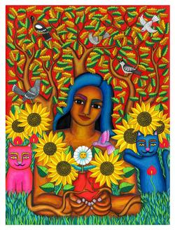 Mujer jardín