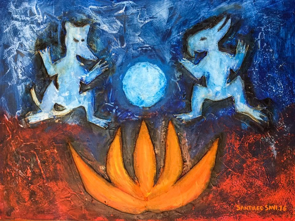 Conejo y tochtli conversando con la luna