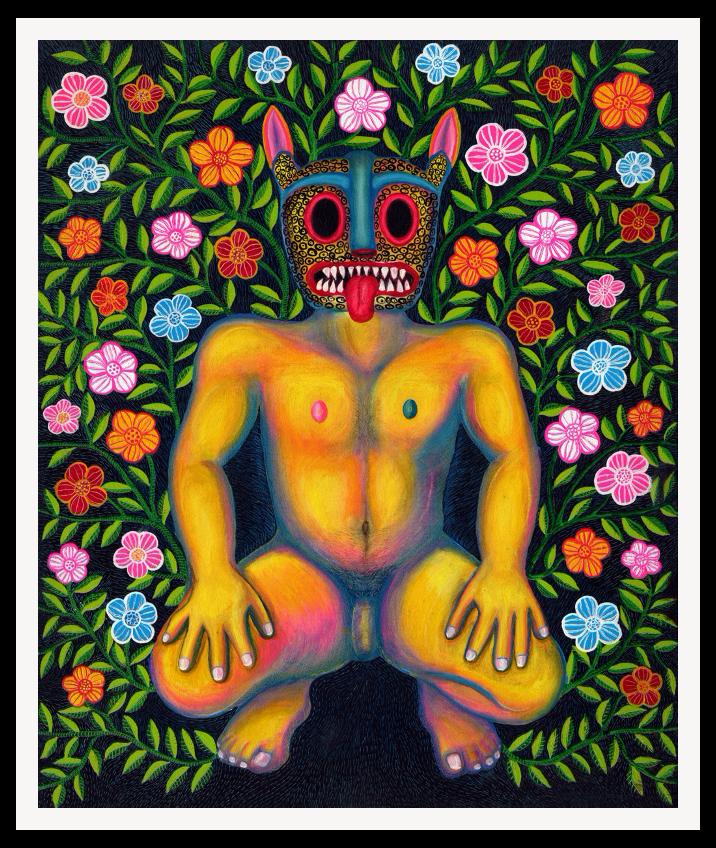 Desnudo con máscara de jaguar