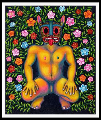 Somos naturaleza (desnudo con máscara de jaguar)