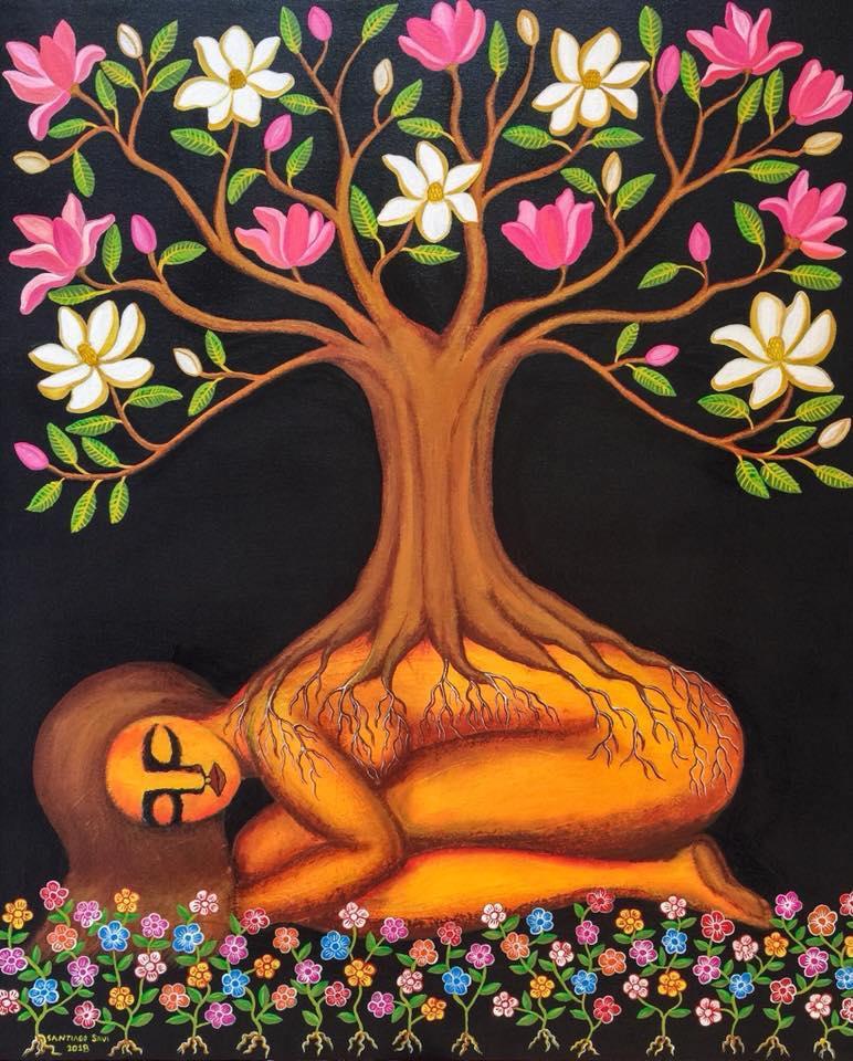 Madre tierra y el árbol de magnolia