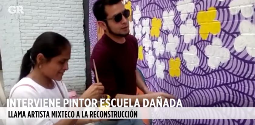 PINTOR SANTIAGO SAVI INTERVIENE  ESCUELA DAÑADA/PERIÓDICO REFORMA