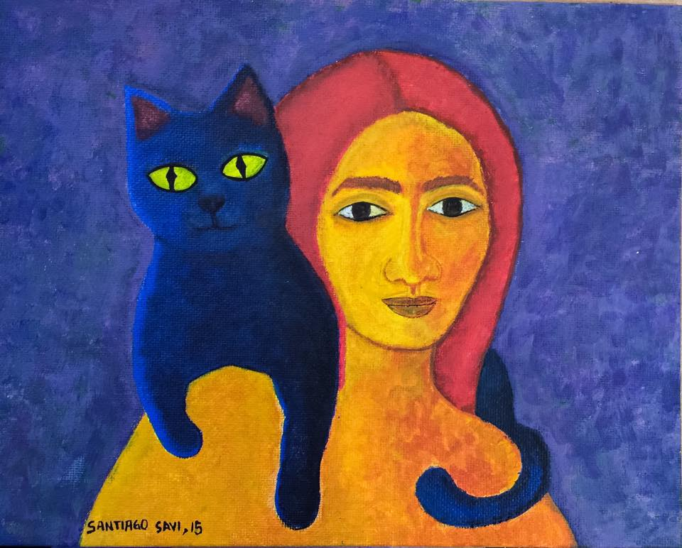 Mujer con gato azul