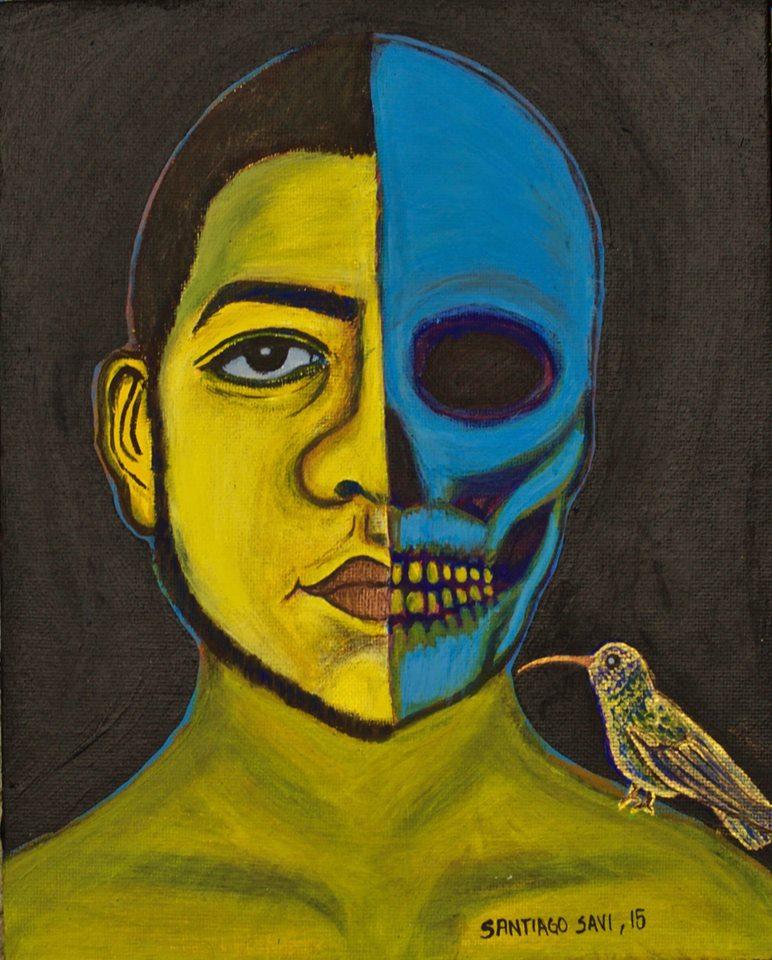 Autorretrato con muerte y colibrí