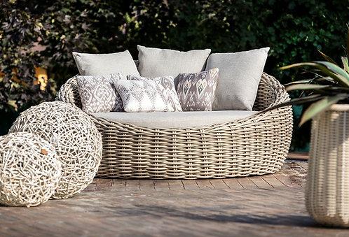 מיטת שיזוף עגולה לחצר מראטן סינתטי