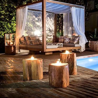 נרות בבולי עץ לחצר ולגינה
