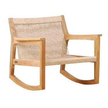 כיסא נדנדה מעץ טיק וראטן סינתטי לחצר