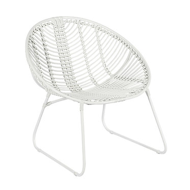 כיסא חוץ מראטן סינתטי ומתכת בצבע לבן