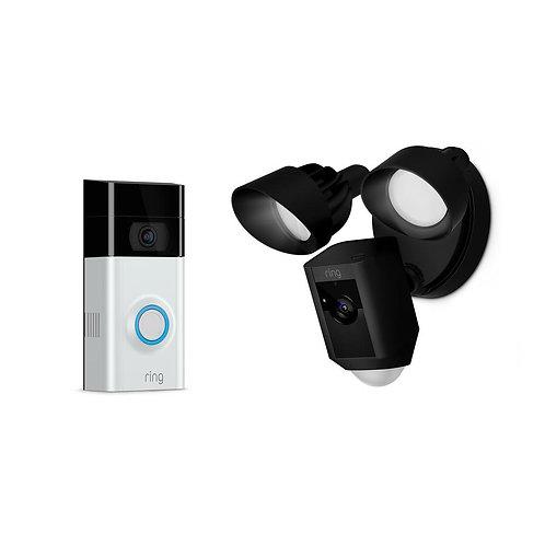 Ring Pro Video Door Bell + Ring Floodlight | WiFi Camera Kit