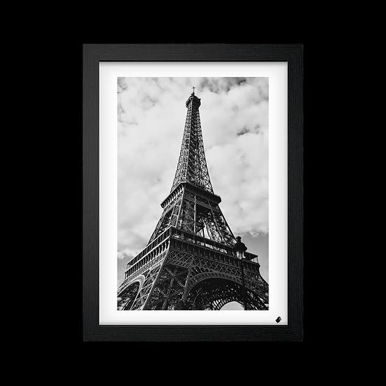 Poster / Quadro Torre Eiffel Preto e Branco (Margem Branca)