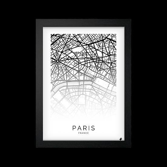 Poster / Quadro Paris Mapa Branco