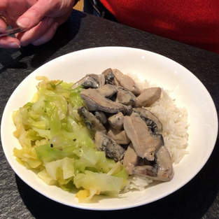 Creamy pork and mushroom with rice