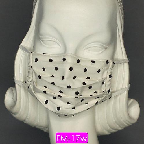 Face Mask - White & Black Polka Dot