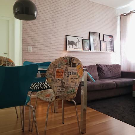 Minimalismo e cor na medida neste apartamento alugado de 50m²