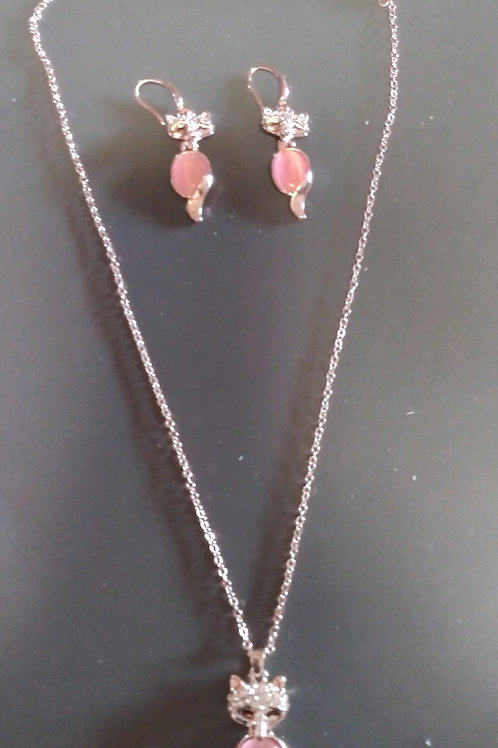 Neclace and earring set pink quartz like colored stone