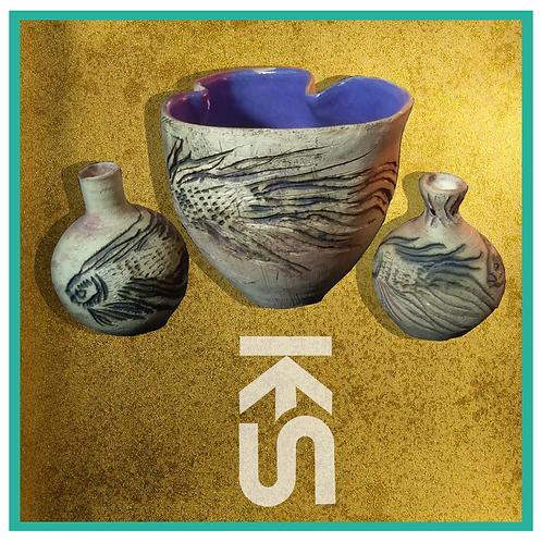 Set of Three Ceramic Vessels