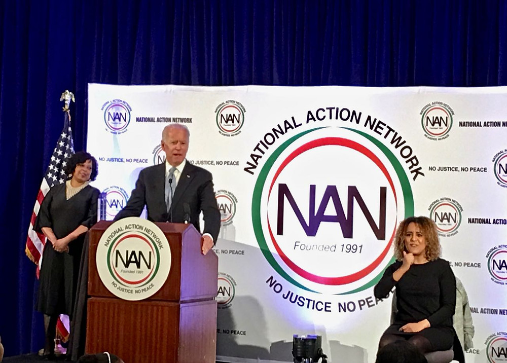 Joe Biden speaks at Al Sharpton's National Action Network event for Martin Luther King Jr. Day in Washington, D.C.