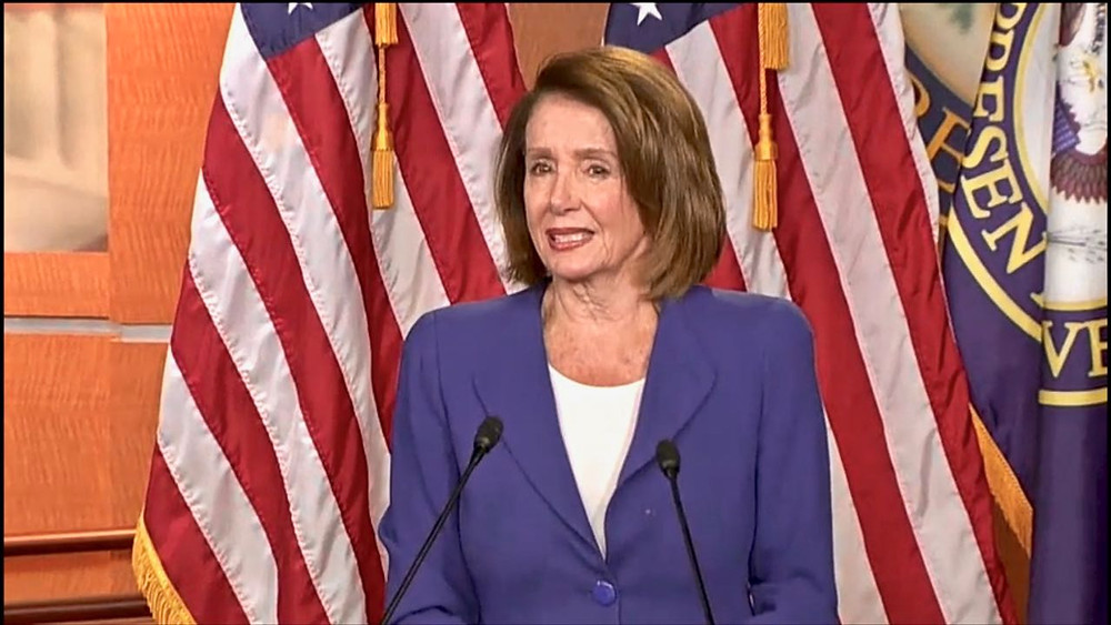 House Speaker Nancy Pelosi wonders at her news conference what the Russians have on  President Trump.