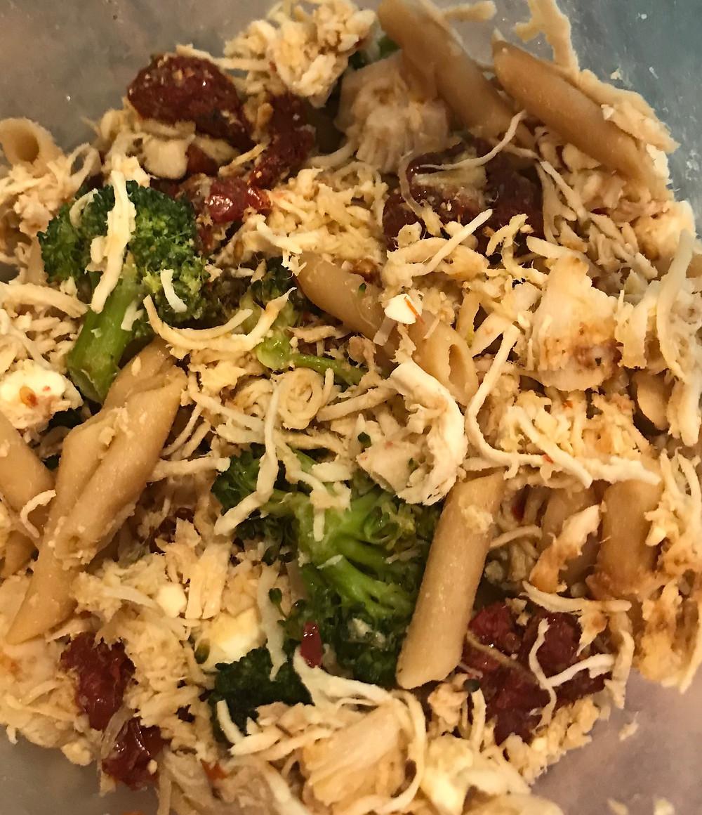 Chicken, Broccoli and sun-dried tomato pasta