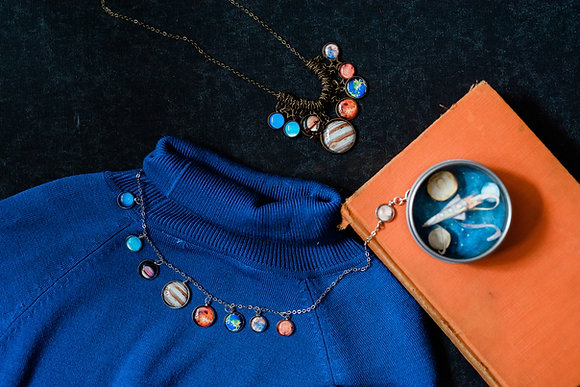 Solar System Necklace, With Pluto (Bronze)