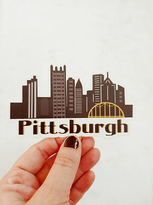 Waterproof Vinyl Pittsburgh Skyline Sticker
