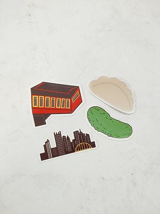 Waterproof Vinyl Pittsburgh Sticker Starter Pack, Full Size Stickers
