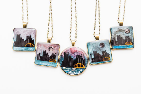One of a Kind Pittsburgh Skyline Resin Pendant Necklaces