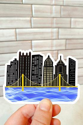 Waterproof Vinyl Pittsburgh Skyline Over Water Sticker