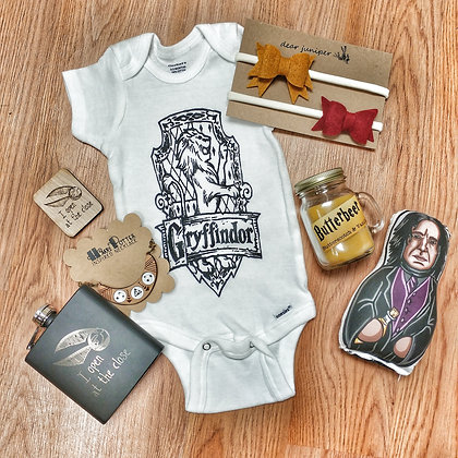 Harry Potter Inspired Gryffindor Onesie (Other Houses Available!)
