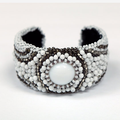 Beaded Cuff by Connie Blair of Tender Blossoms, White