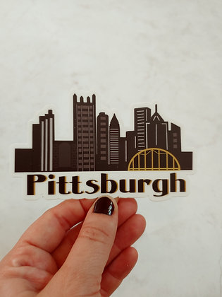 Waterproof Vinyl Large Pittsburgh Skyline Sticker