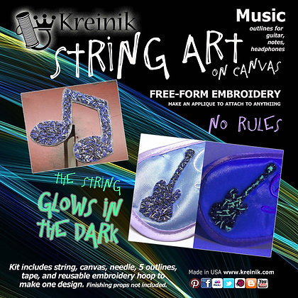 Glow in the Dark Embroidery - Music