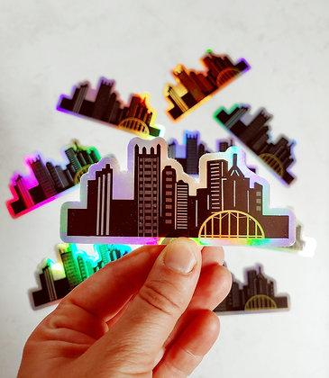 Holographic Waterproof Vinyl Pittsburgh Skyline Sticker (Large)