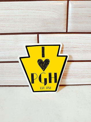 Waterproof Vinyl Pittsburgh Yellow Keystone Sticker