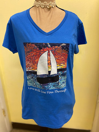 Love Will Sea You Through Adult Shirt, by Debbie of Mosaic Glass Creations