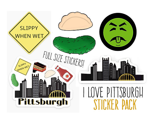 Super Deluxe Waterproof Vinyl Pittsburgh Sticker Starter Pack, Full Size Sticker