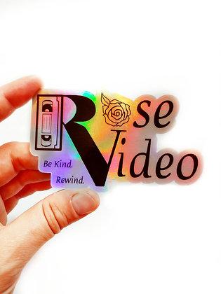 Holographic Rose Video Waterproof Vinyl Sticker