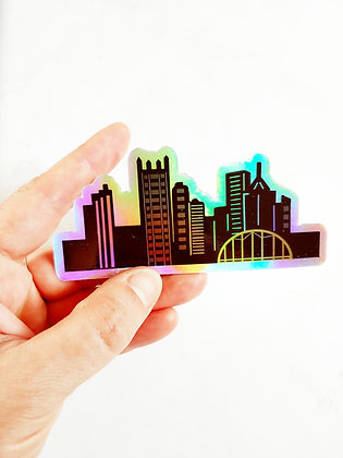 Holographic Waterproof Vinyl Pittsburgh Skyline Sticker (free shipping!)