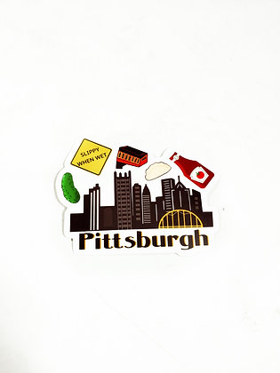 Waterproof Vinyl Pittsburgh Skyline Sticker | Large | Free Shipping