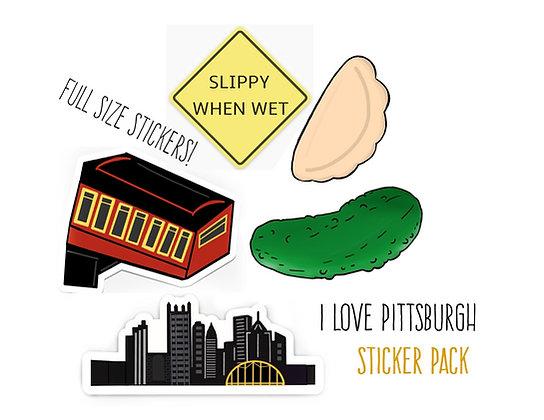 Deluxe Waterproof Vinyl Pittsburgh Sticker Starter Pack, Full Size
