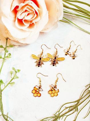Bee and Honeycomb Earrings