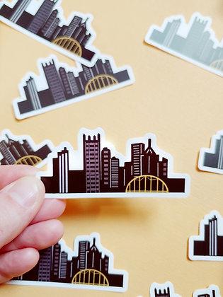 Waterproof Vinyl Pittsburgh Skyline Sticker Medium