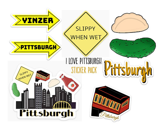 Mega Super Deluxe Waterproof Vinyl Pittsburgh Sticker Starter Pack