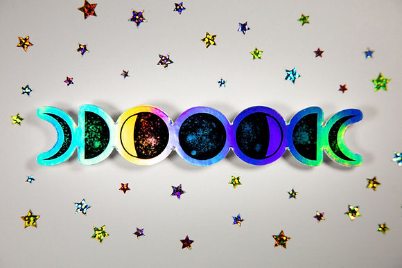 Holographic Waterproof Vinyl Moon Phases Sticker | Free Shipping