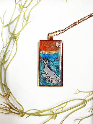 One of a Kind Resin Whale Pendant Necklace