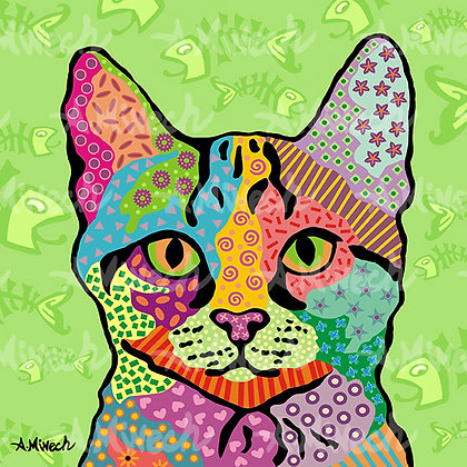 Har Green Cat Pop Art Shirt by April Minech