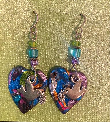 Peace Dove Heart Earrings by Cathy Frank