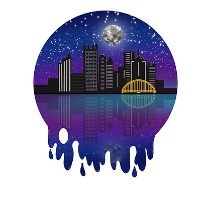 Large Waterproof Clear Vinyl Pittsburgh Skyline Globe Sticker